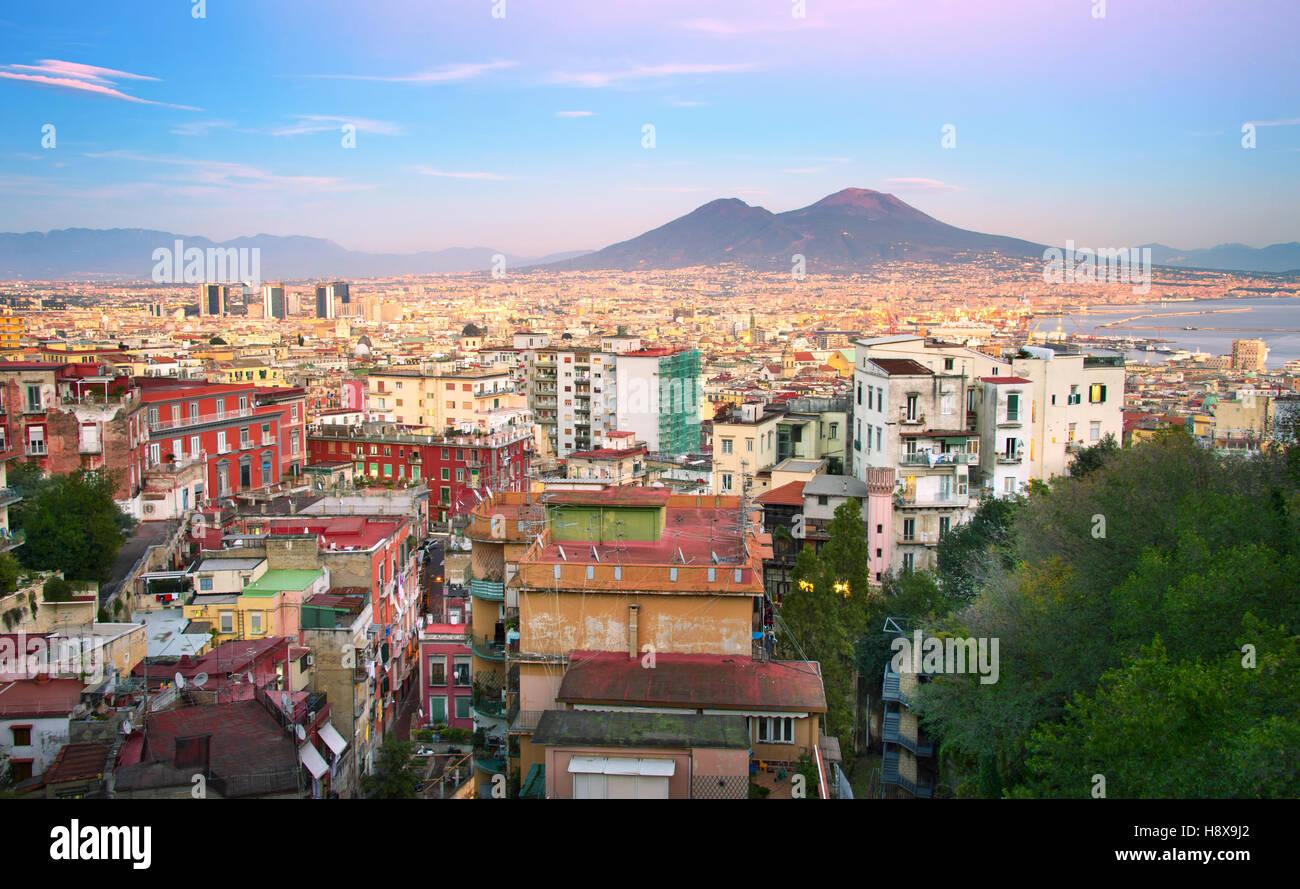 Skyline of Naples in sunset light. Italy - Stock Image