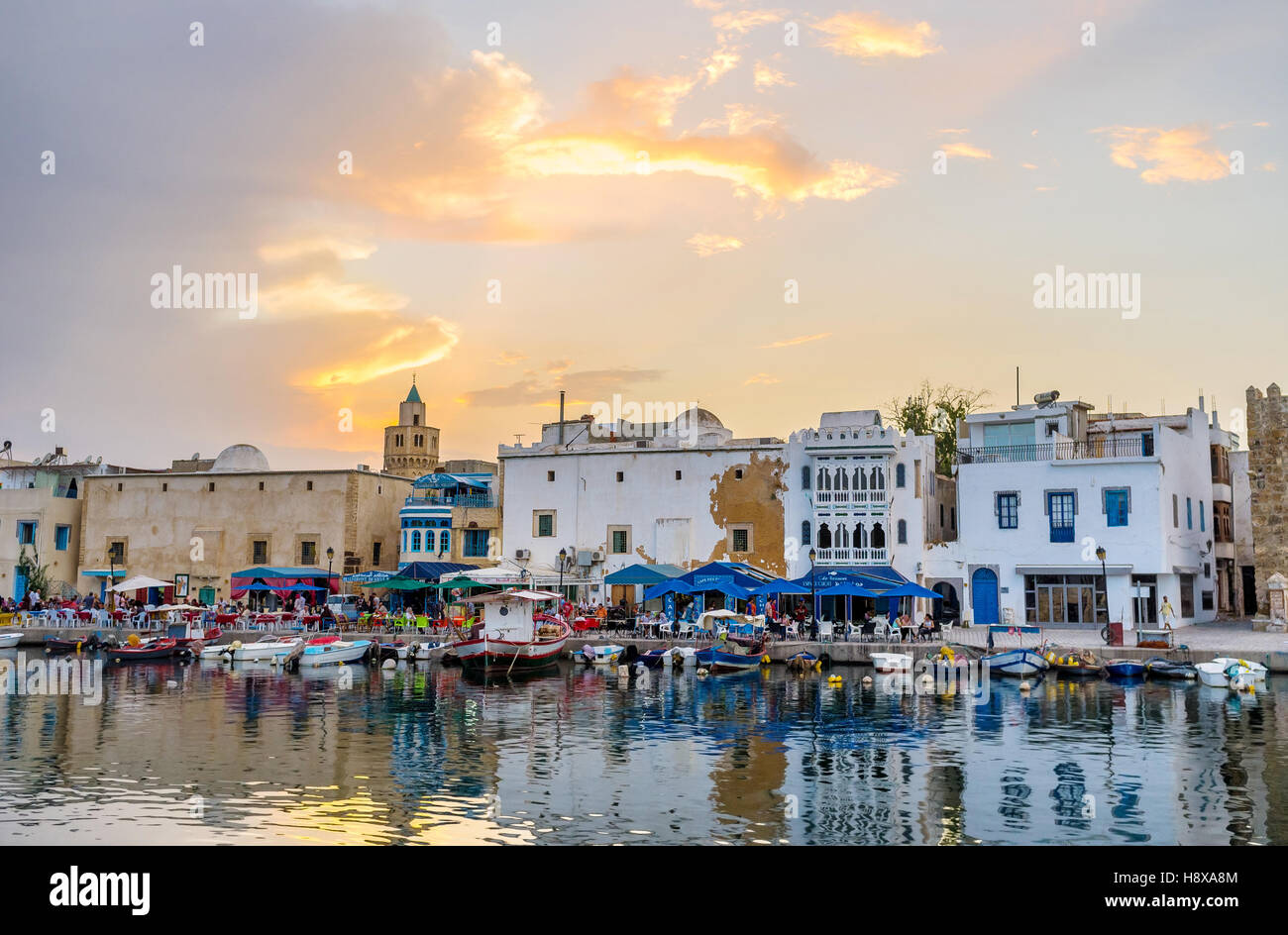 The sunset makes the town unusual and magic place - Stock Image