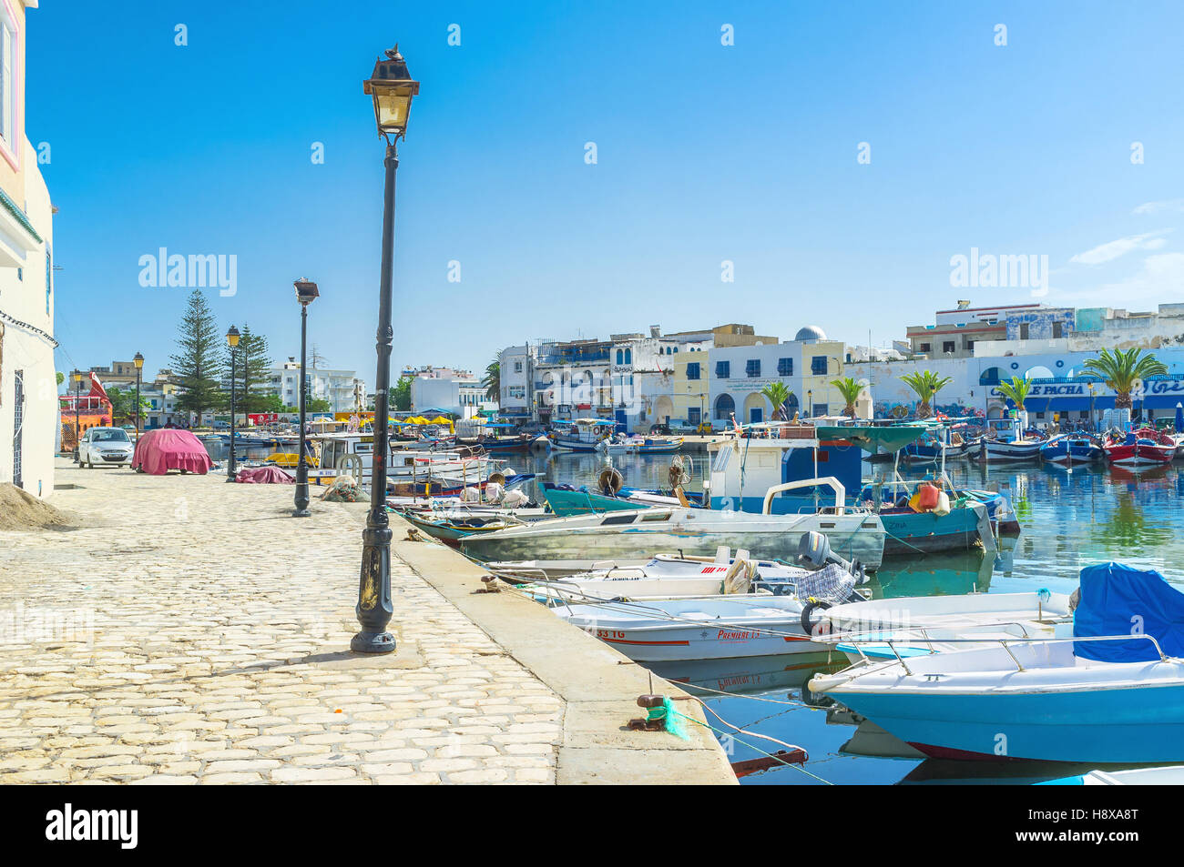The best way to feel the spirit of Bizerte is to walk in the old port - Stock Image