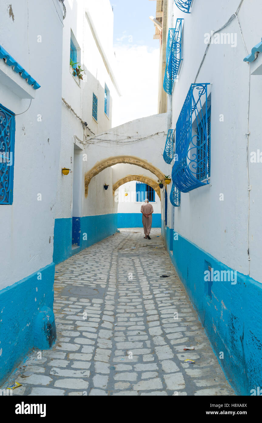 Most of Medina houses painted in white and blue colors, traditional for old Tunisian towns, Bizerte. Stock Photo