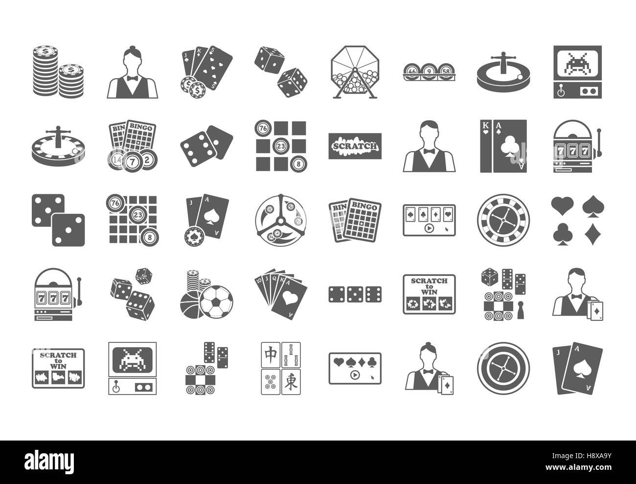 Casino icon. Vector Illustration isolated on white background. - Stock Image