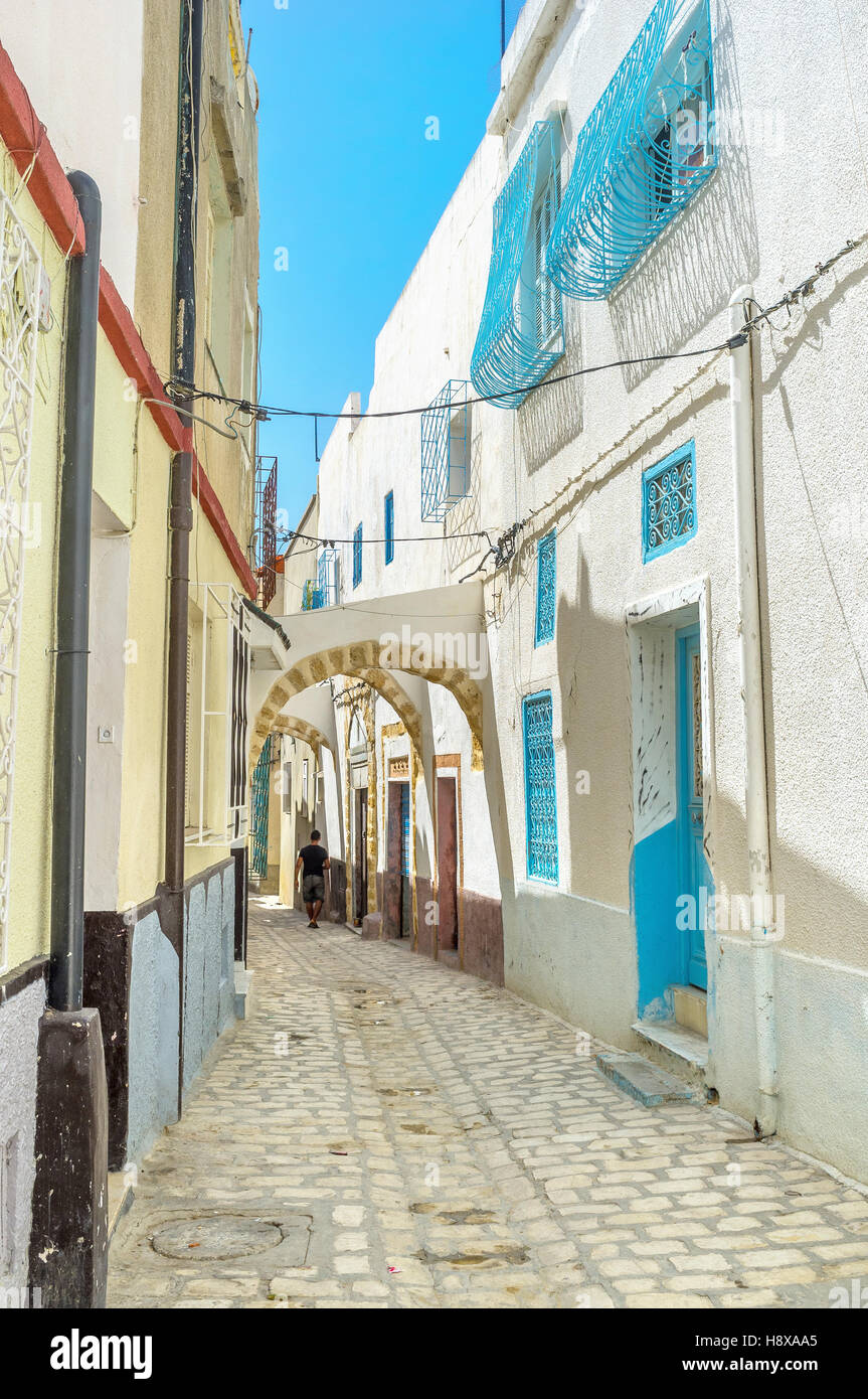 The Medina of Bizerte is the perfect place to discover old arabic town, Tunisia. - Stock Image