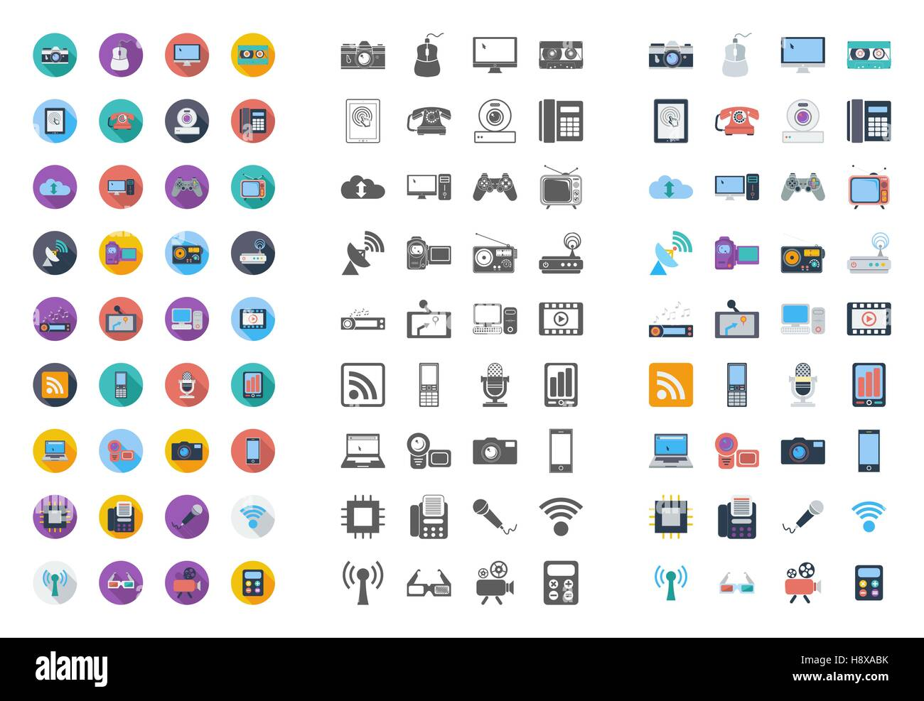Devices icons set. Flat vector related different styles icons set for web and mobile applications. It can be used Stock Vector