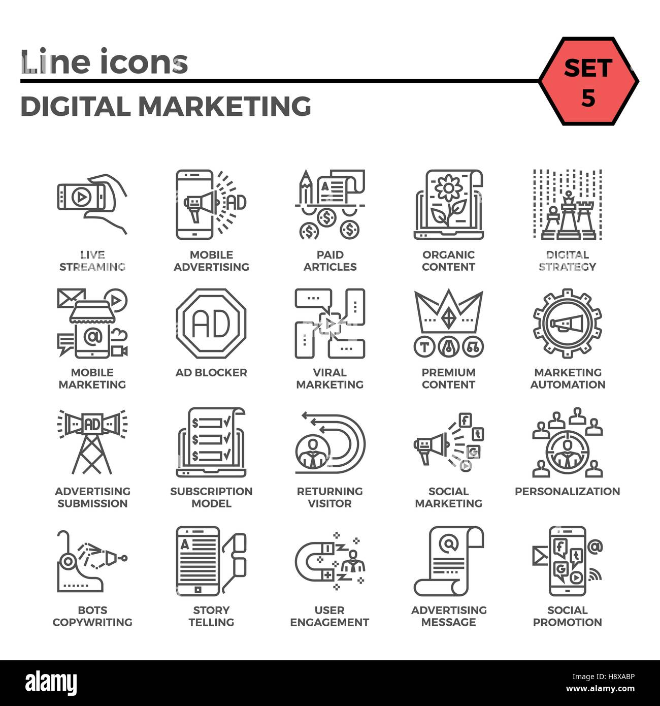 Digital Marketing Thin Line Related Icons Set on White Background. Simple Mono Linear Pictogram Pack Stroke Vector Stock Vector