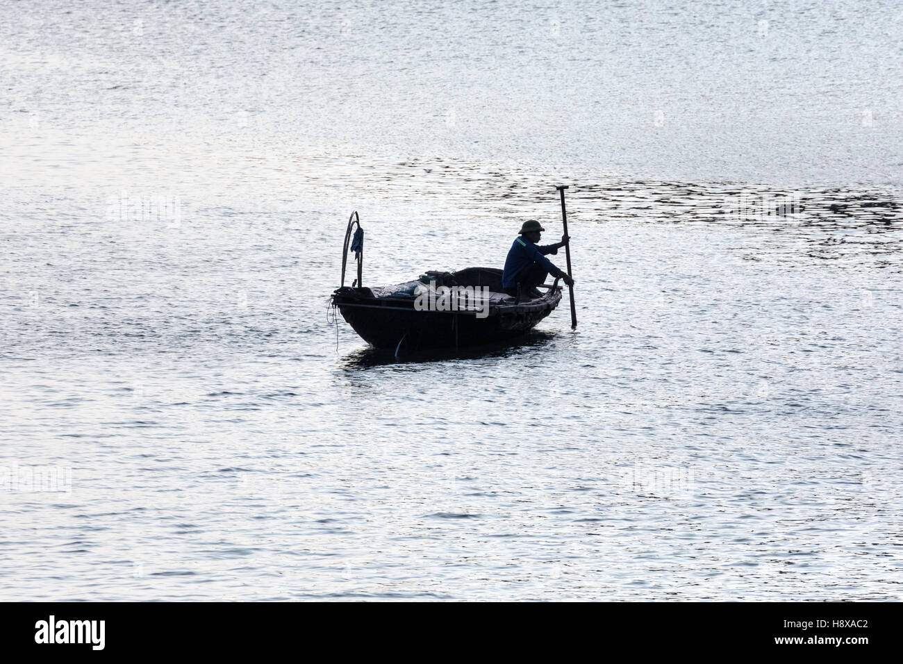 fisher man at work at Halong Bay, Vietnam, Indochina, Asia Stock Photo
