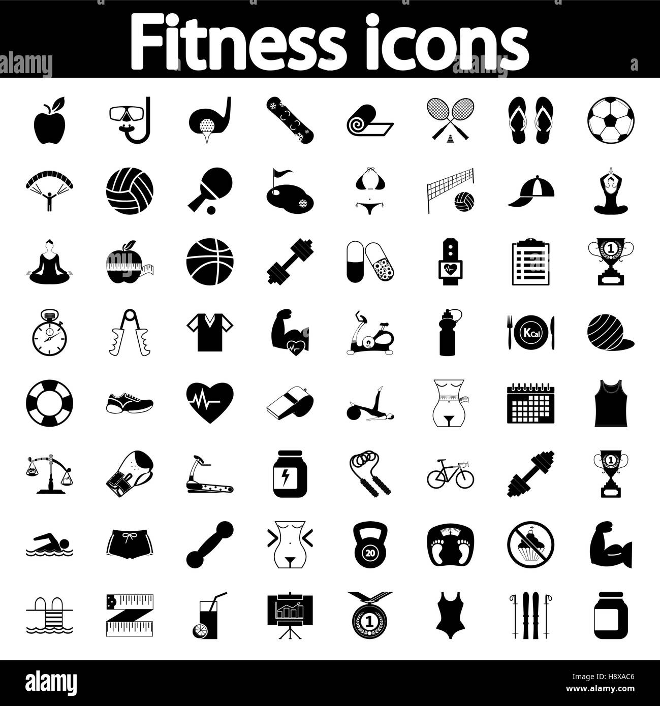 Professiona fitnessl icons for your website. Vector illustration. - Stock Image