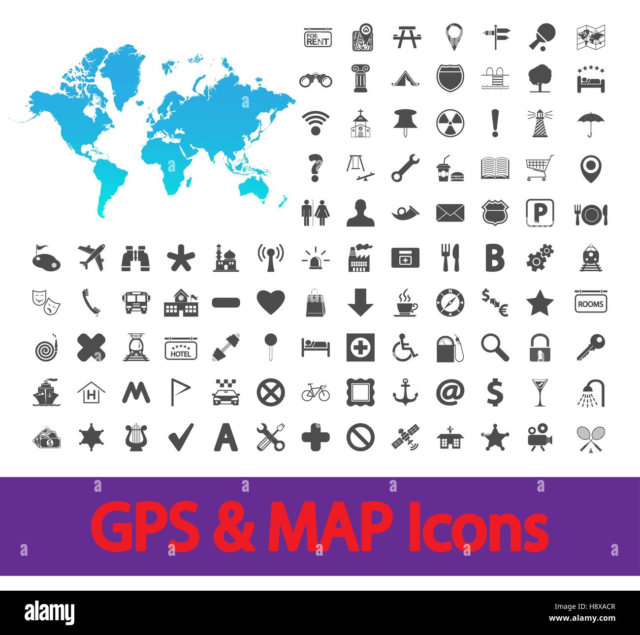 Navigation map icons set. Vector illustration. Stock Vector