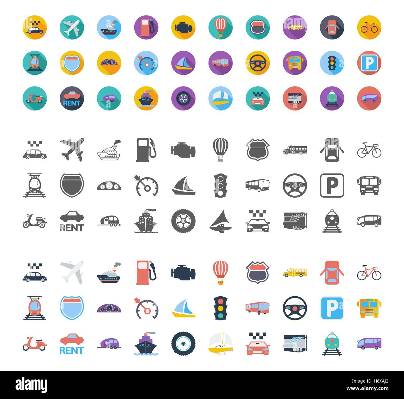 Transportation icons set. Flat vector related different styles icons set for web and mobile applications. It can - Stock Image