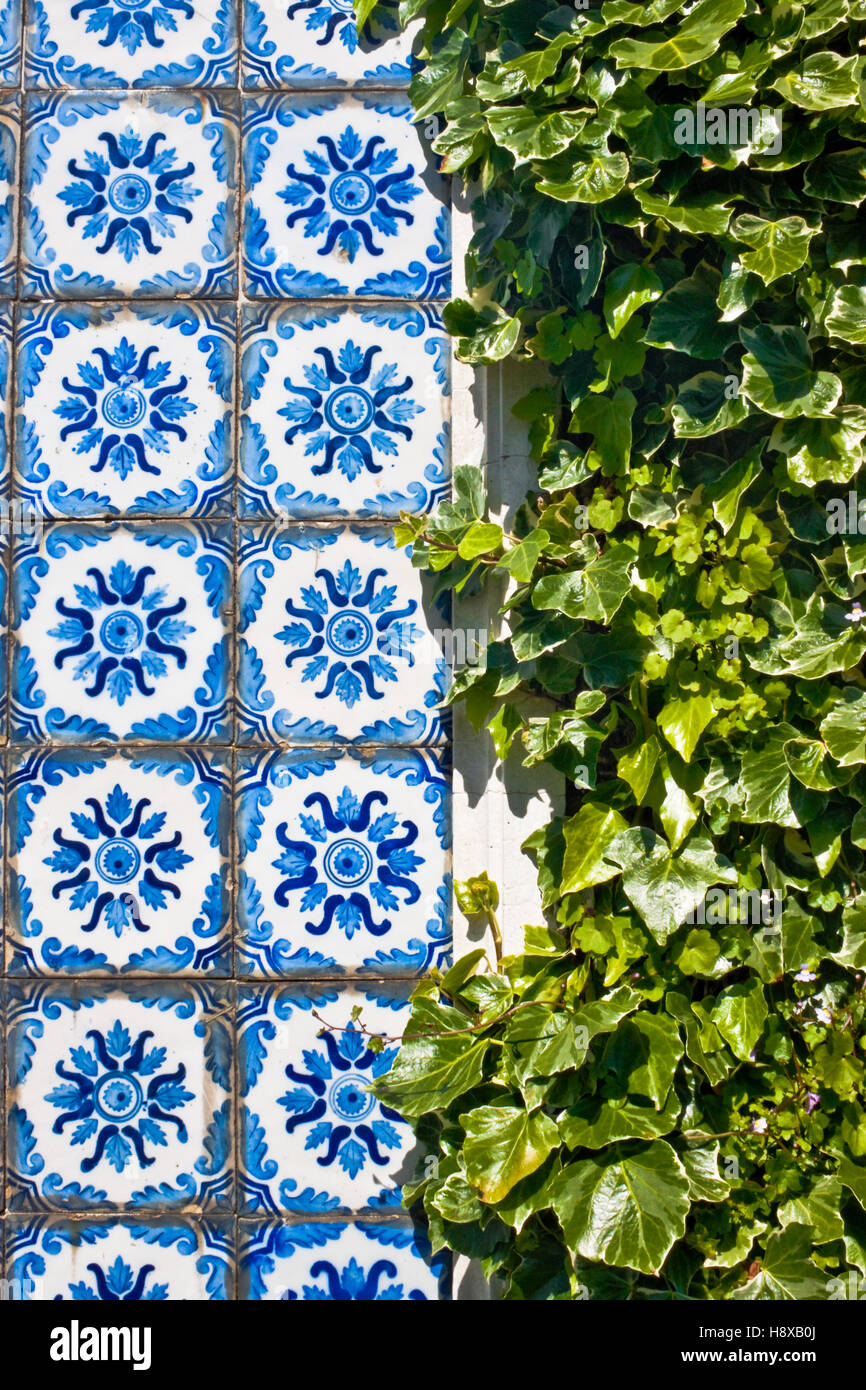 Traditional portuguese tiles  azulejos and green leaves Stock Photo
