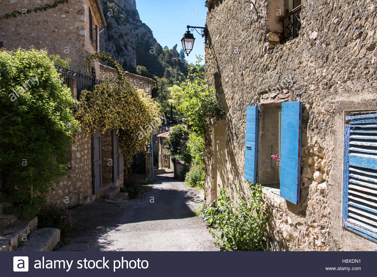 Medieval Village Moustiers-Sainte-Marie, departement of Alpes-de-Haute-Provence, Provence, picturesque stone buildings, - Stock Image
