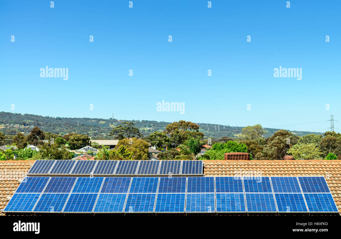 Solar panels installed on the roof in South Australia - Stock Image