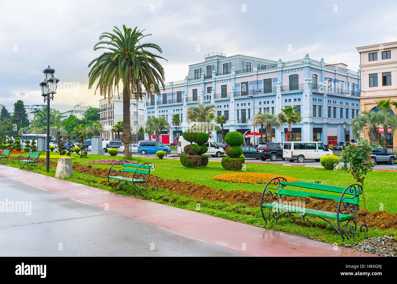 The scenic park located adjacent to the promenade of the Sea Port, Batumi, Georgia. - Stock Image