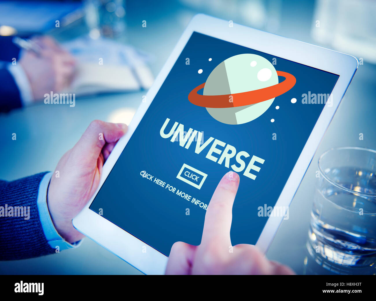 Universe Galaxy Earth Globe  Interstellar Science Concept - Stock Image