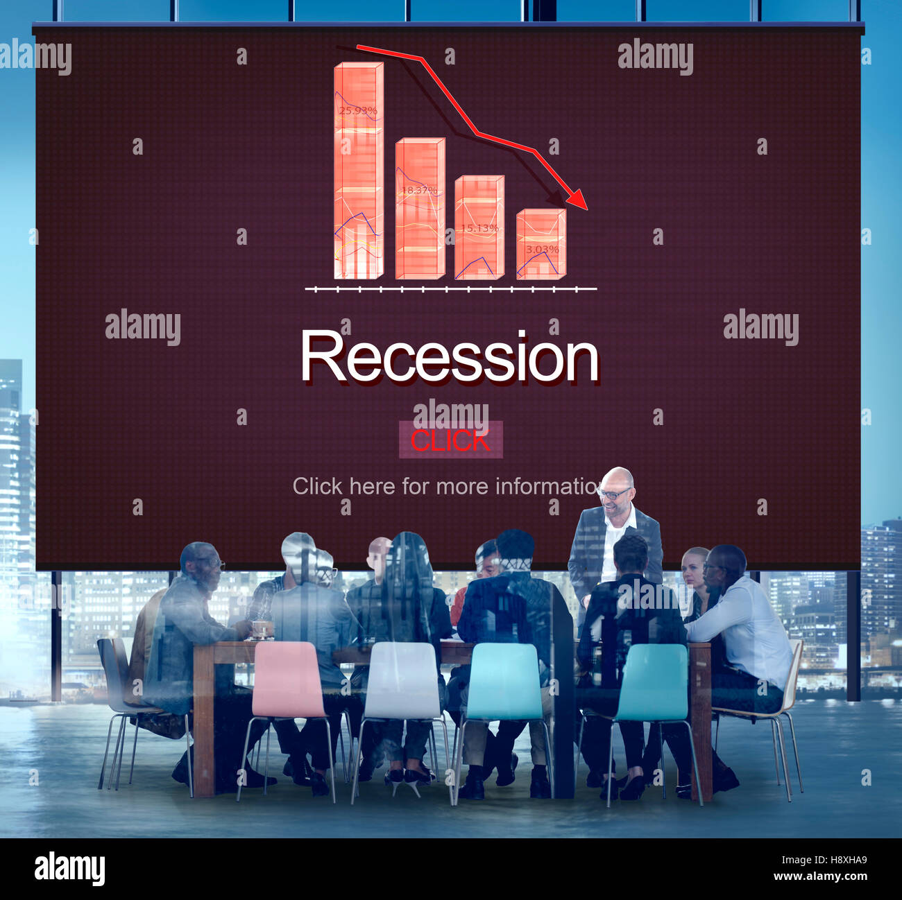 Recession Crisis Inflation Bankrupt Savings Trade Concept - Stock Image
