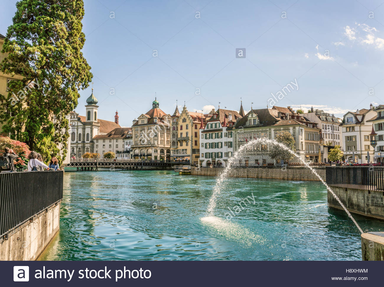 Fountain At Needle Dam At The Reuss River, Lucerne, Switzerland | Fontaene  Am Nadelwehr