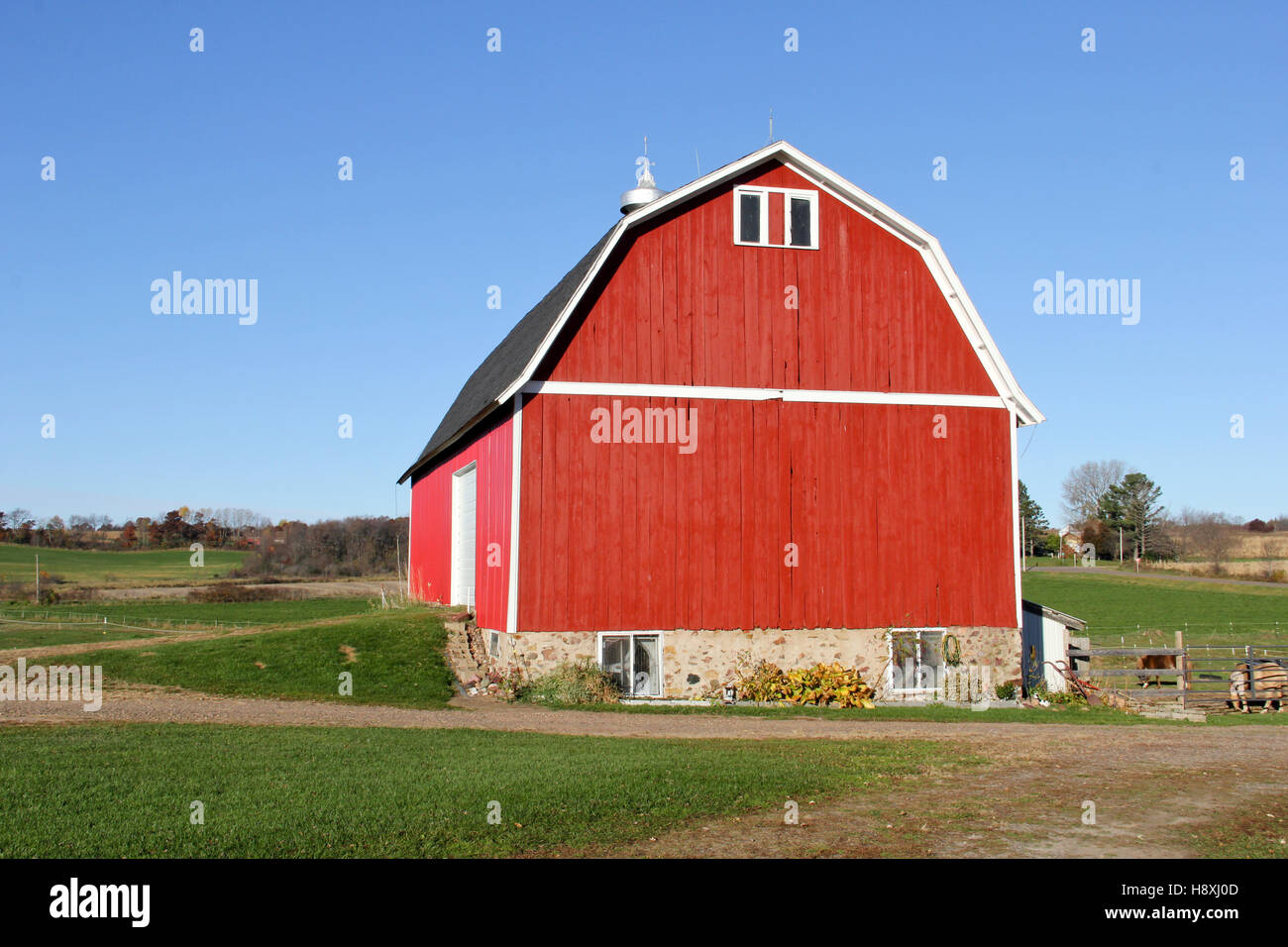 Red wooden barn on a Wisconsin farm with green grass and blue sky in the background - Stock Image