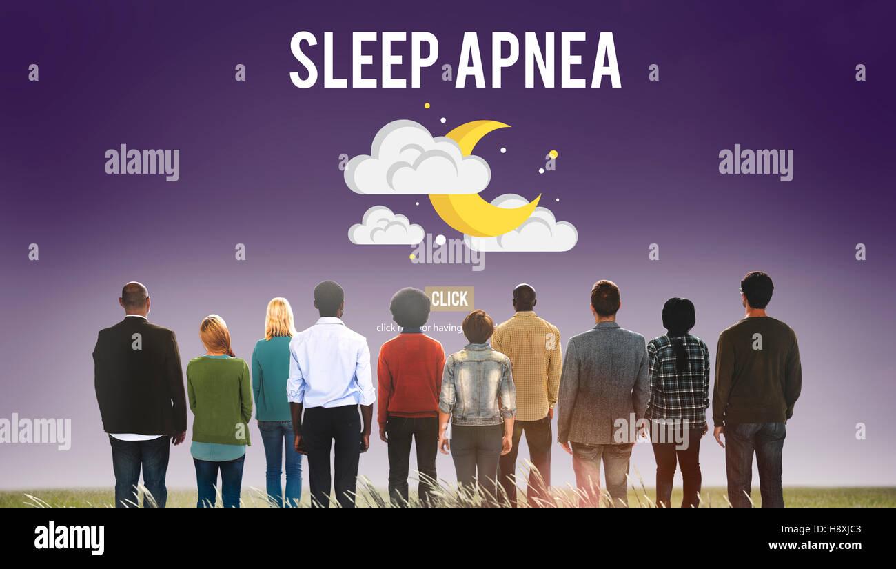 Sleep Apnea Insomnia Sleep Deprivations Disorders Sleepless Concept - Stock Image