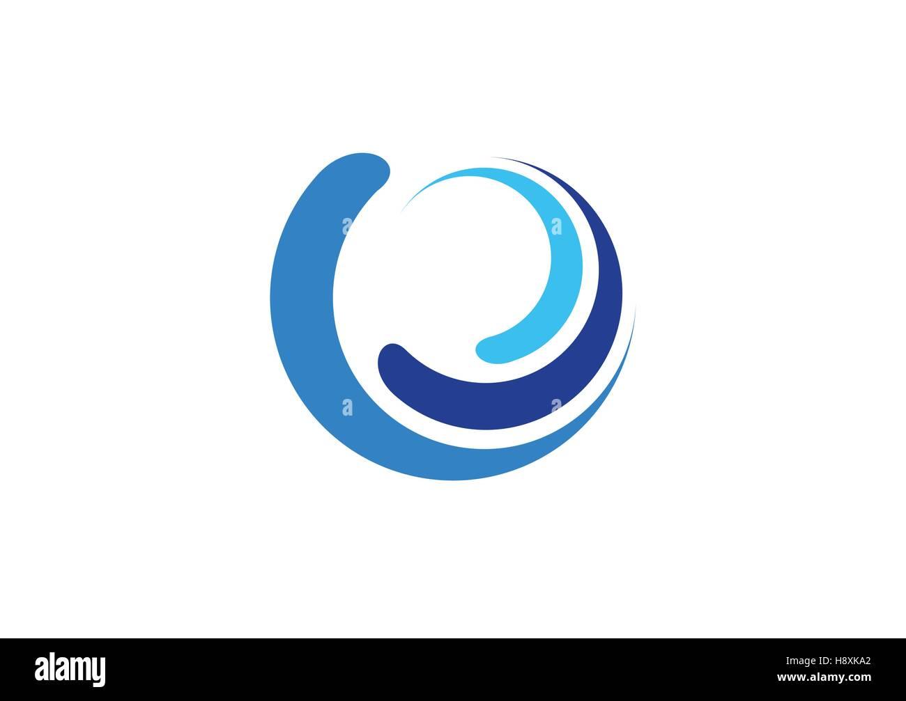 circle waves logo, sphere blue splash water symbol, swirl wind icon vector design, blue wave logo symbol icon sign - Stock Image