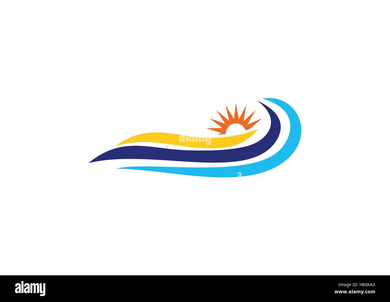 Waves Sun Logo Blue Wave Sea And Sun Light Symbol Summer Icon