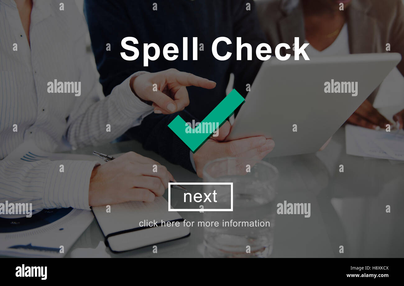 Spell Check Right Correctly Accuracy Concept Stock Photo