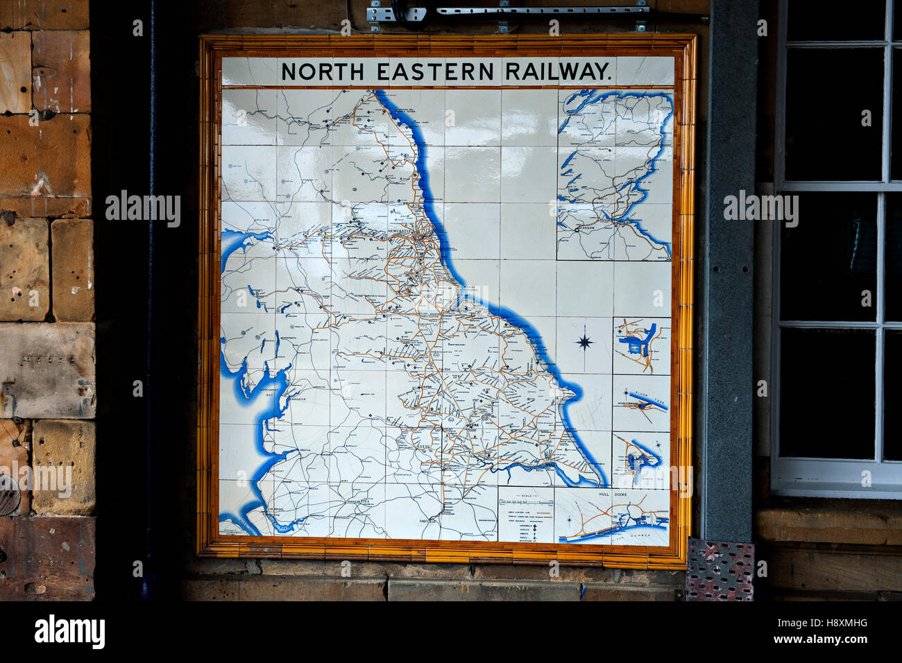 Map made from glazed tiles of the North Eastern Railway at