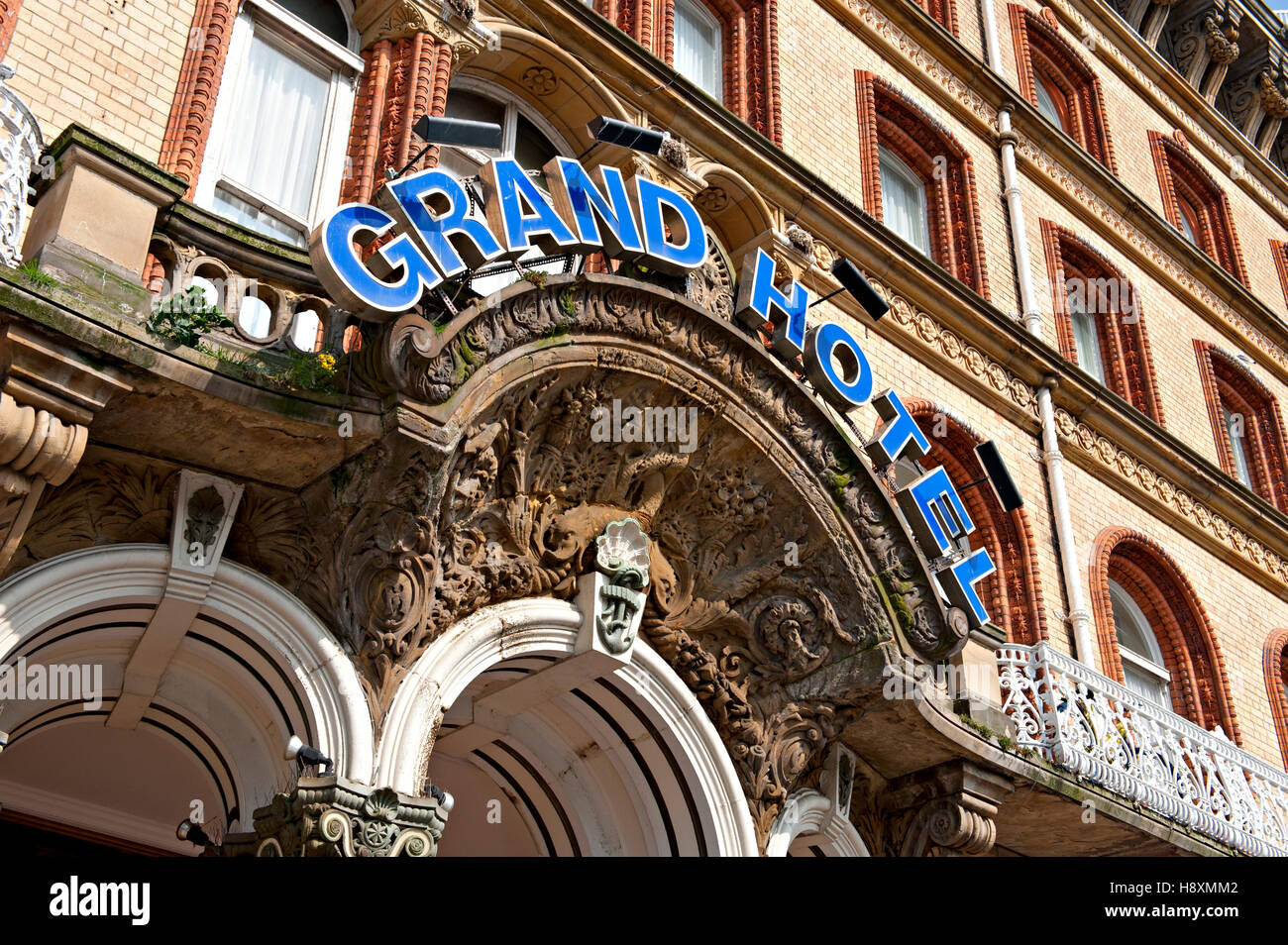Entrance to The Grand Hotel, Scarborough, North Yorks. UK - Stock Image