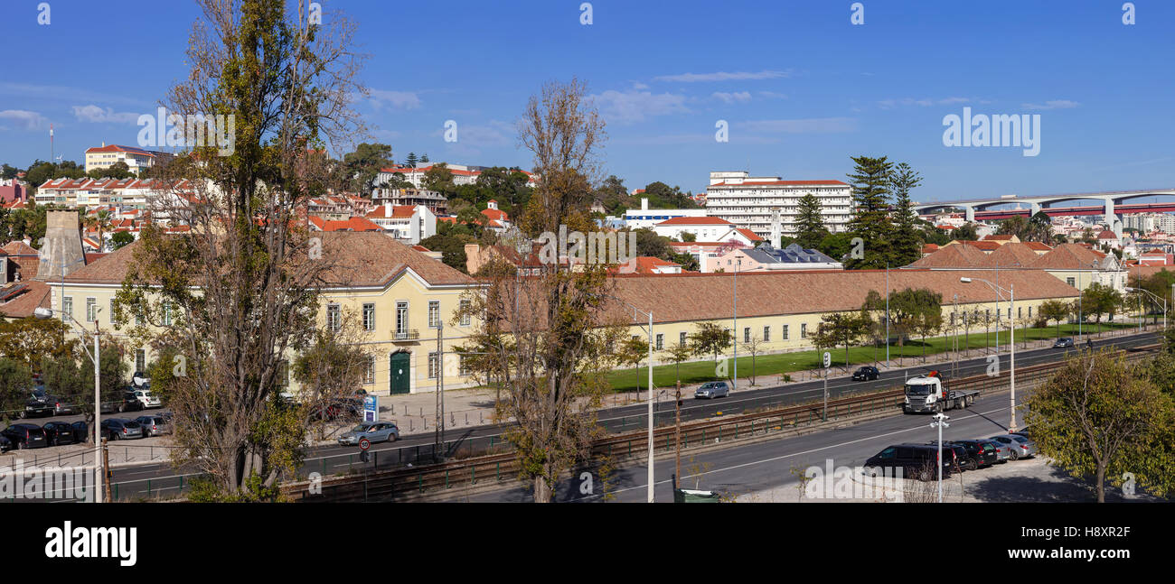 Cordoaria Nacional. Historical factory where ropes for the Tall-Ships of the sea-exploration era were made. Used - Stock Image