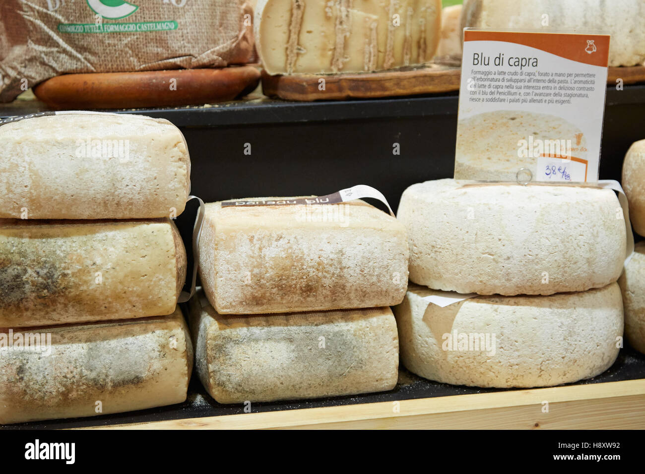 Goat cheese on sale during Alba White Truffle Fair in Alba, Italy - Stock Image