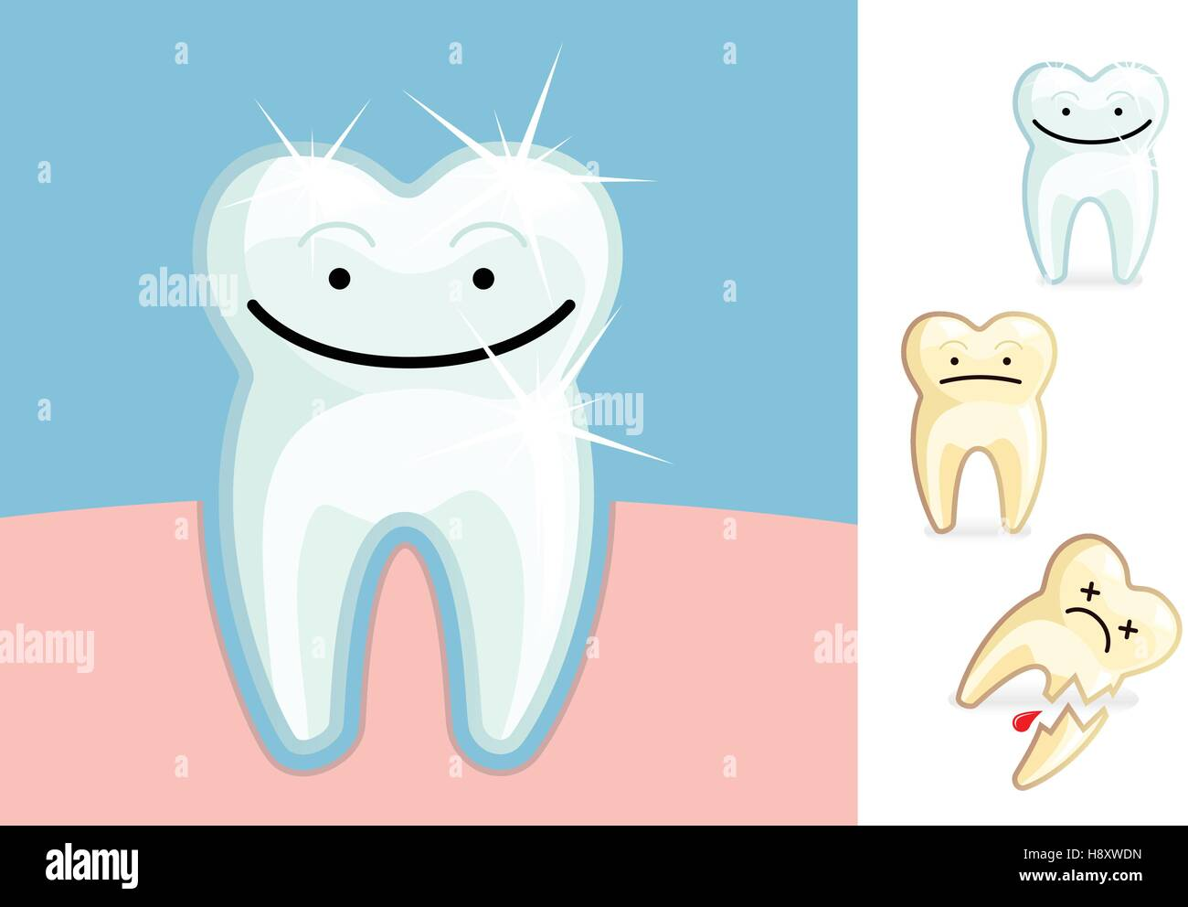 A clean and healthy molar and a stained and broken tooth - Stock Image