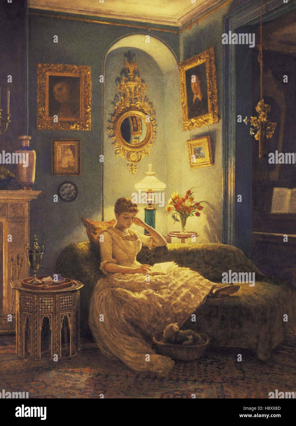 Sir Edward John Poynter  An Evening At Home - Stock Image