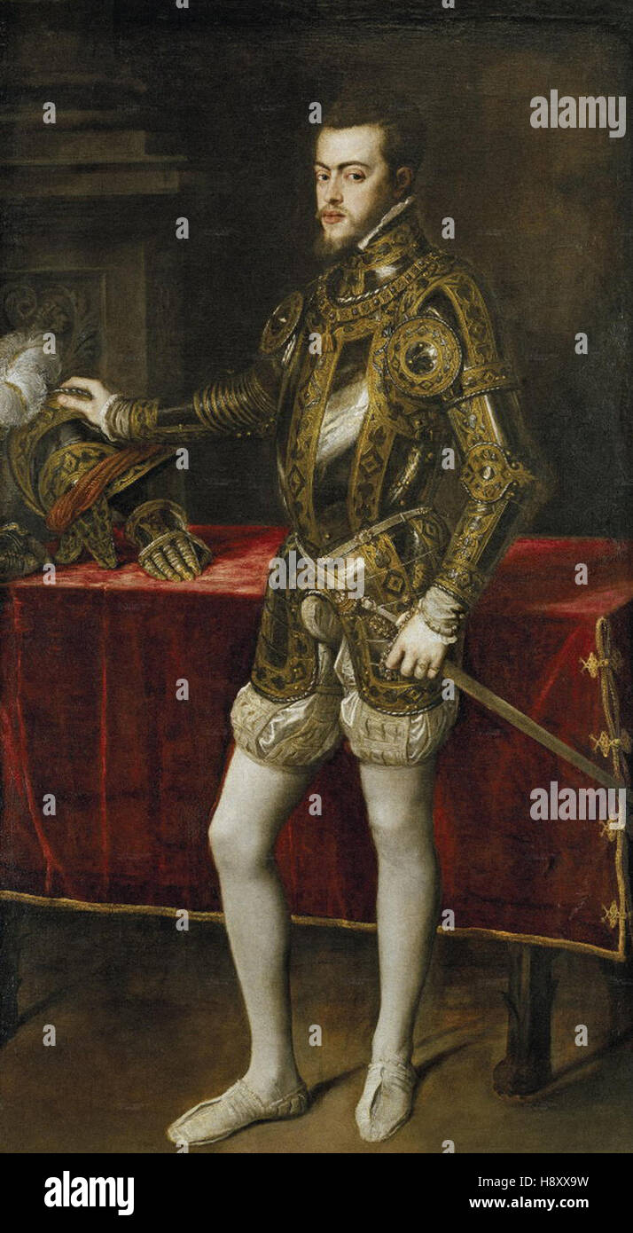 Tiziano Vecellio - Le Titien  - Felipe II  - 1550 - - Stock Image
