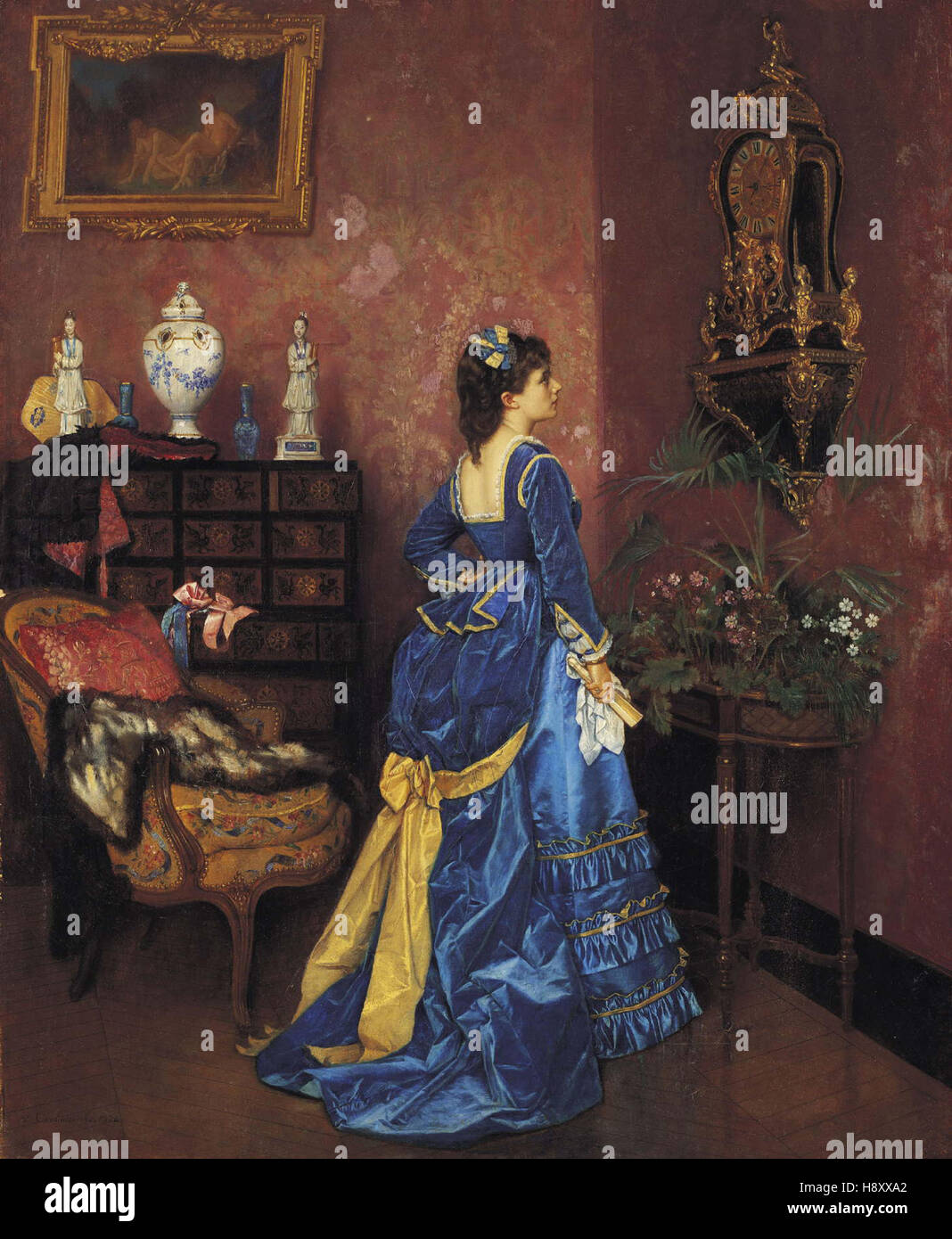 Auguste Toulmouche   Five Minutes Late - Stock Image