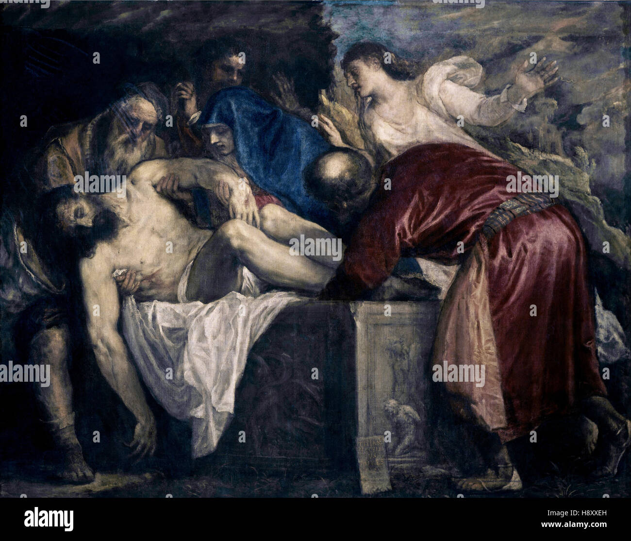 Tiziano Vecelli -  Titian - The Entombment  - 1559 - Stock Image