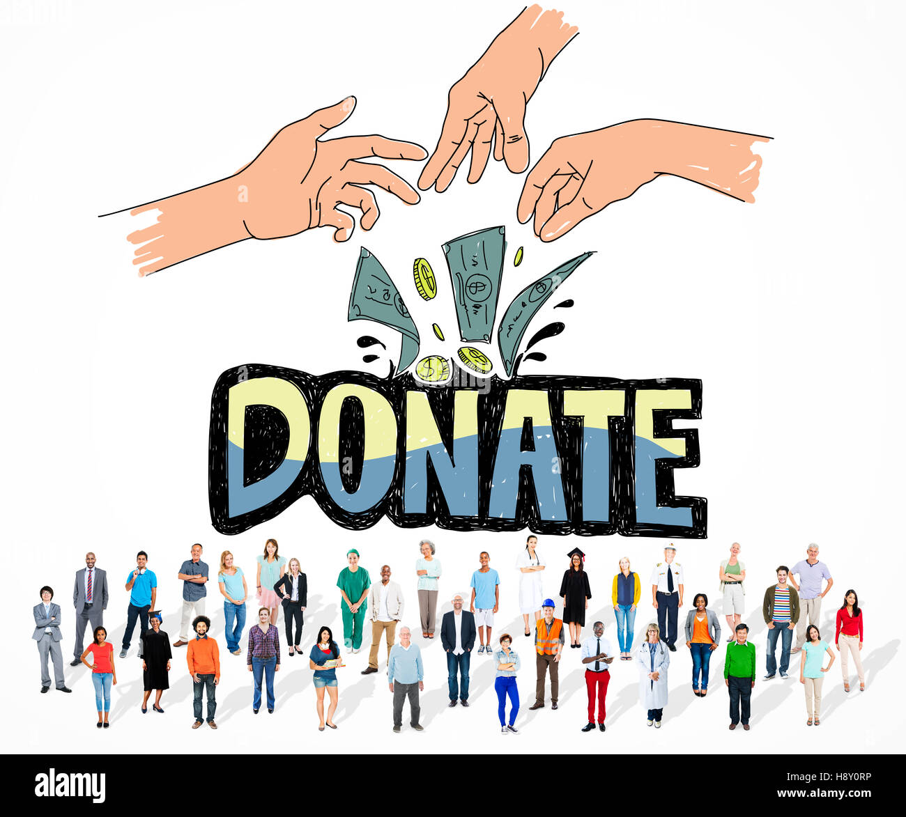 Donate Money Charity Generous Hands Concept - Stock Image