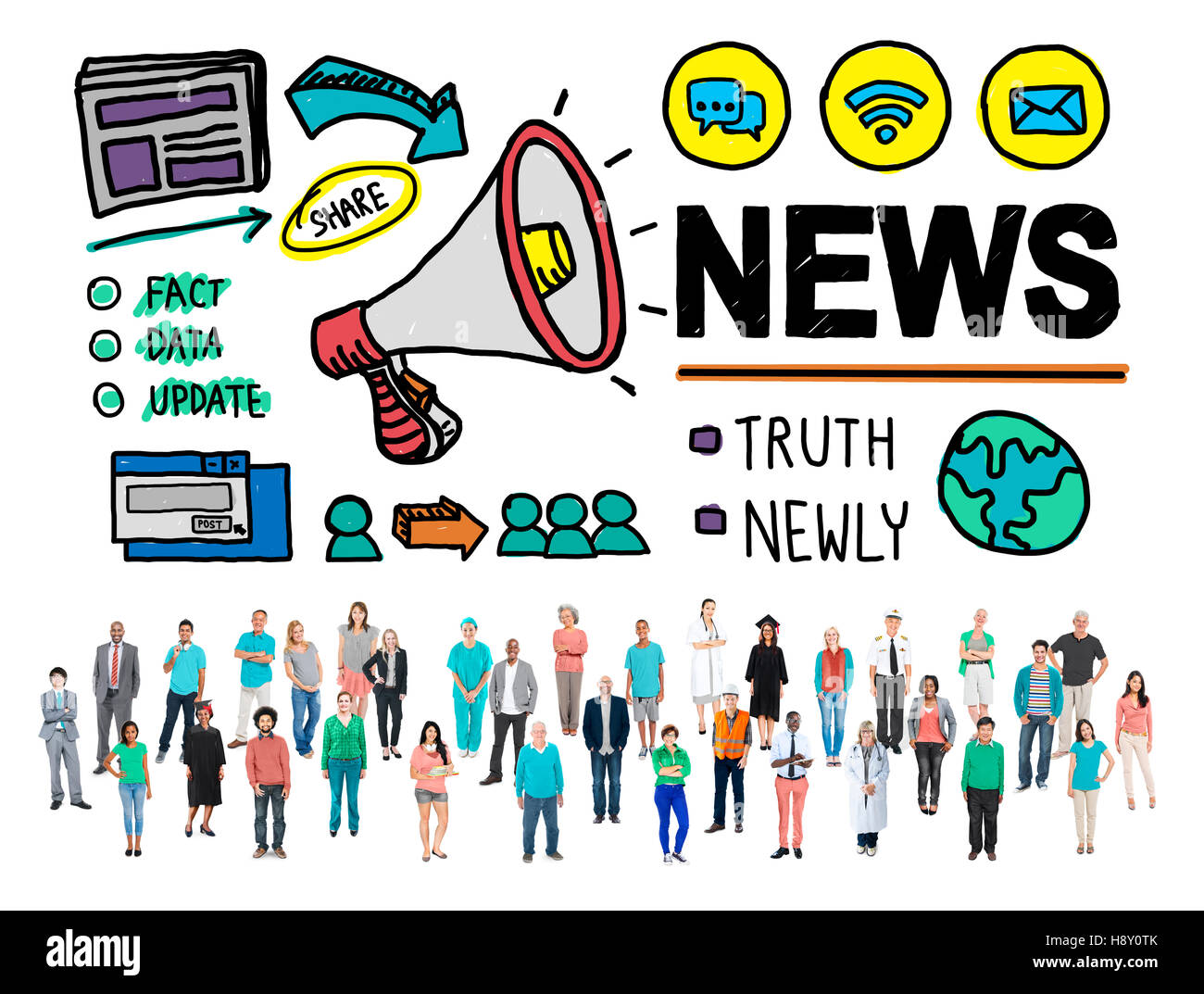 News Broadcast Information Media Publication Concept - Stock Image