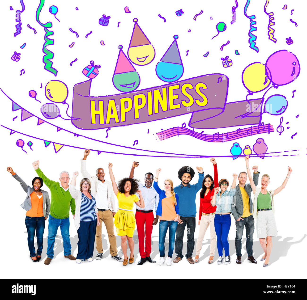 Happiness Enjoy Fun Jolly Festive Concept - Stock Image