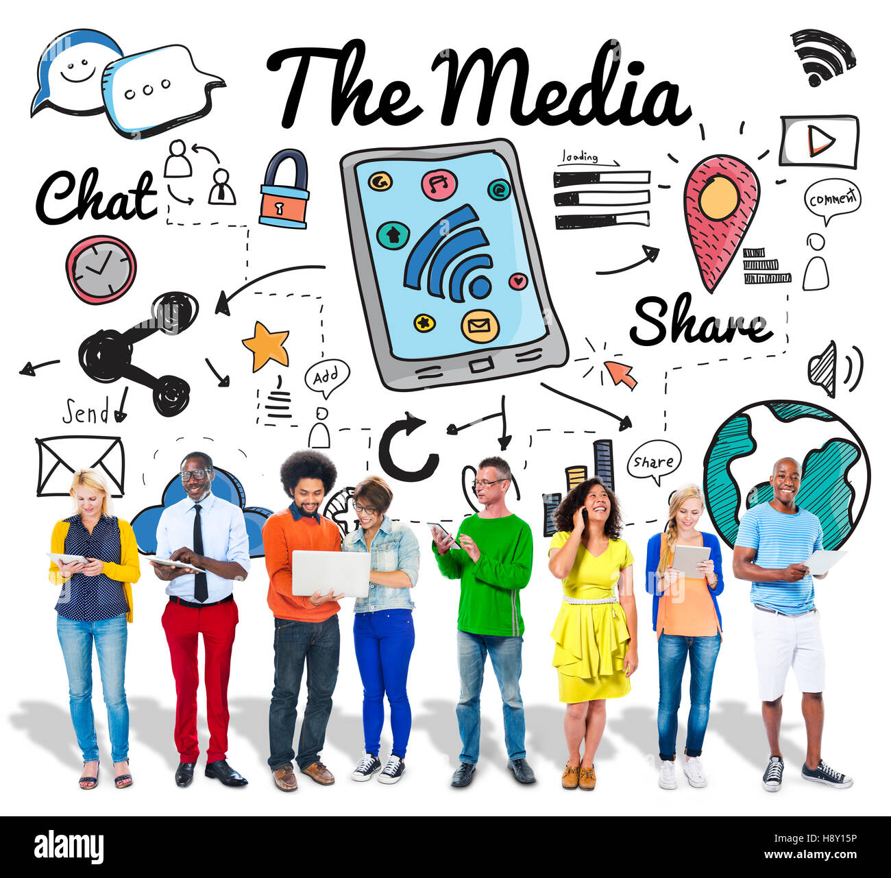 The Media Information Communication Message Concept Stock Photo
