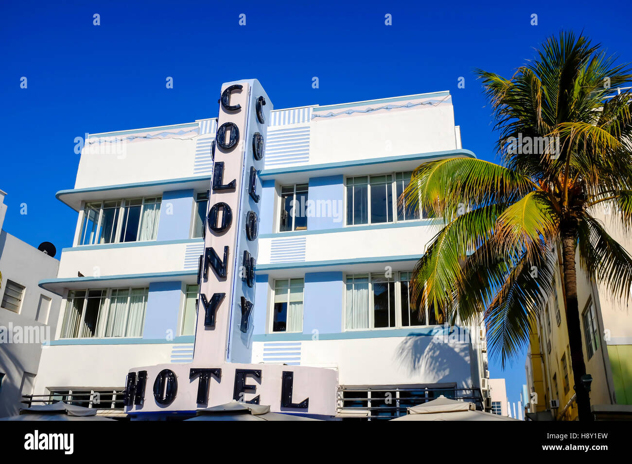 Colony Hotel, South Beach, Ocean Drive, Miami, Florida, United States of America, USA - Stock Image