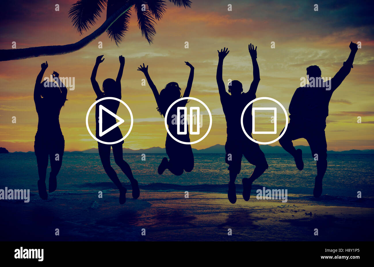 Buttons Multimedia Play Pause Stop Concept - Stock Image