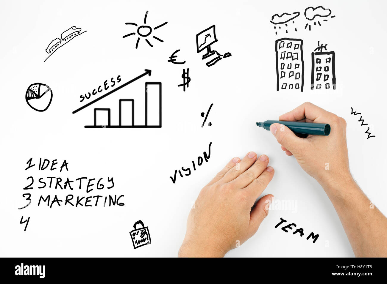 business man writing business plan concept - Stock Image