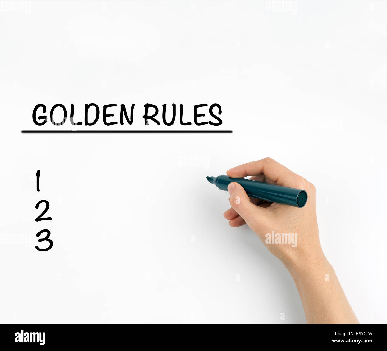 Golden Rules on a white background - Stock Image
