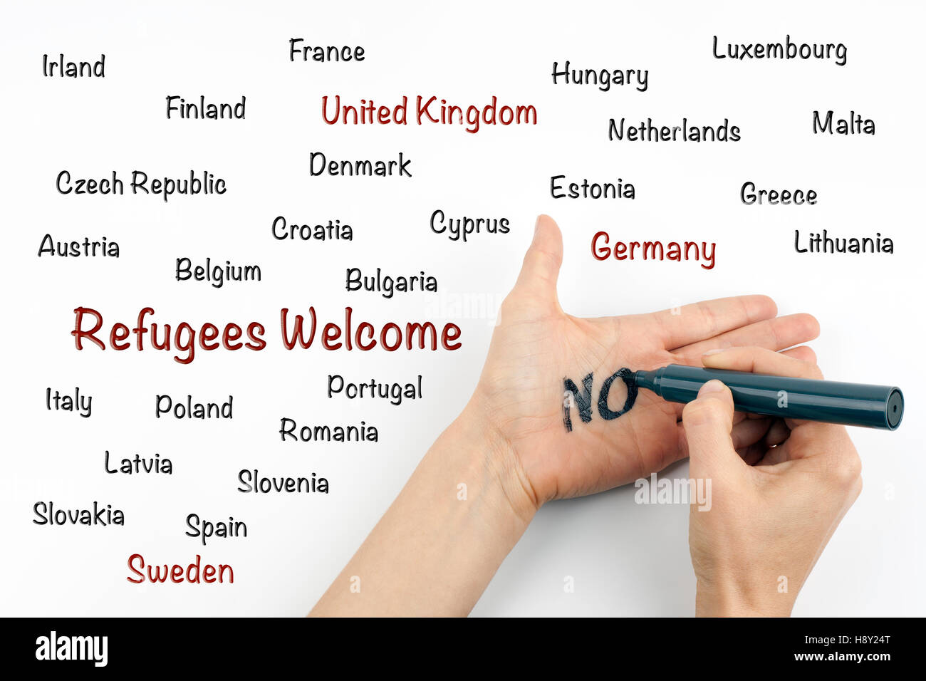Inscription - Refugees welcome - Stock Image