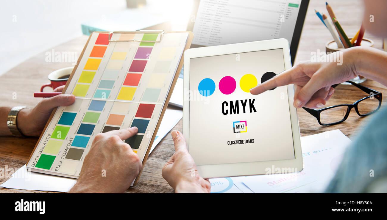 CMYK Cyan Magenta Yellow Key Color Printing Process Concept - Stock Image