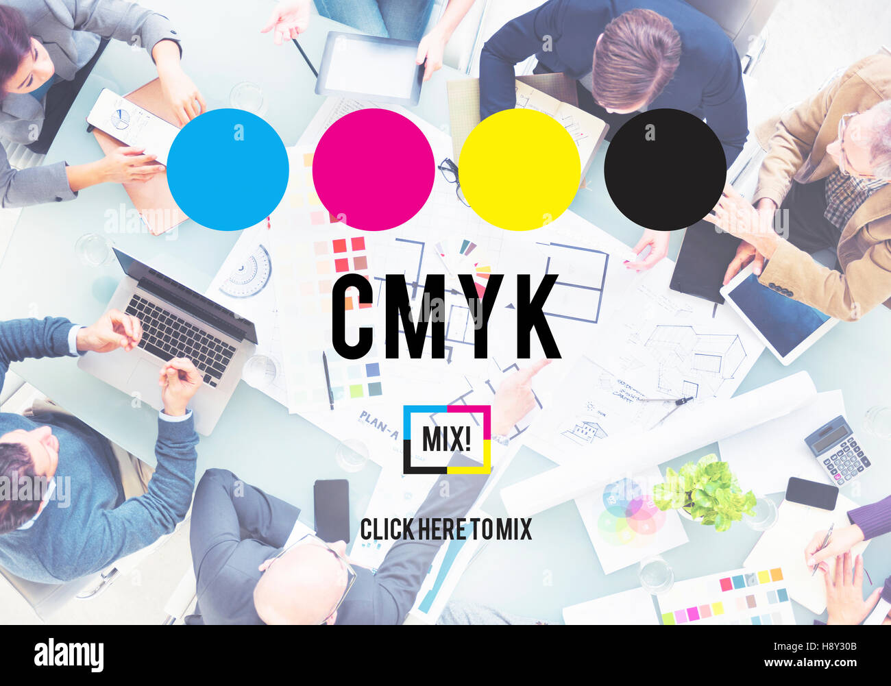 Cmyk cyan magenta yellow key color printing process concept stock cmyk cyan magenta yellow key color printing process concept malvernweather Image collections