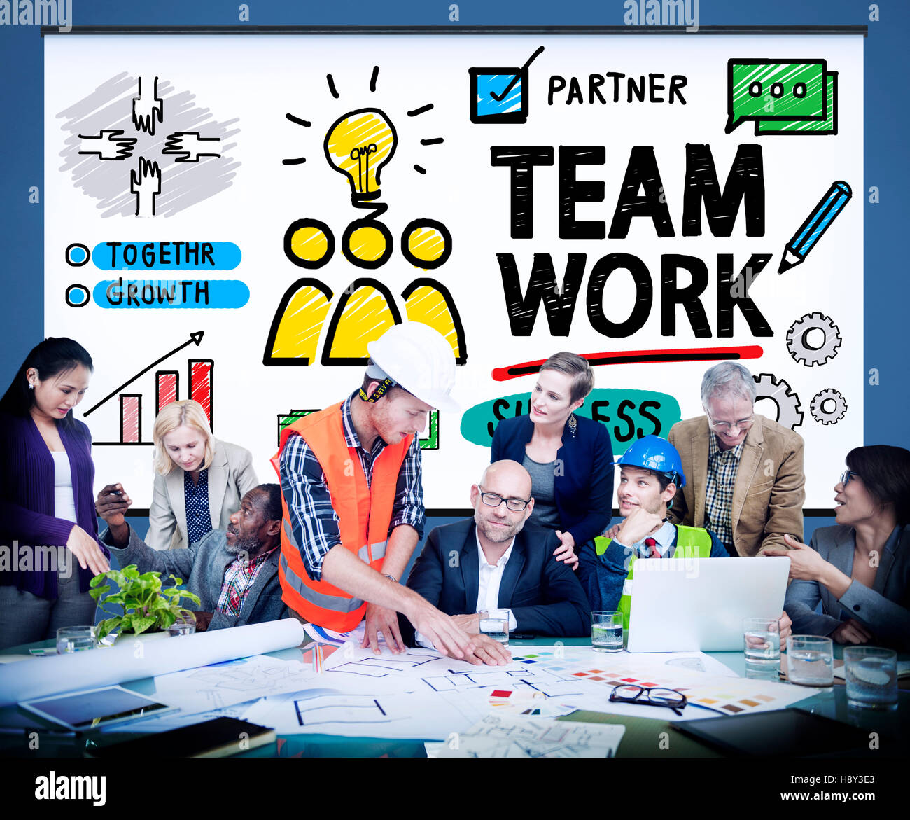 Team Teamwork Group Collaboration Organization Concept Stock Photo