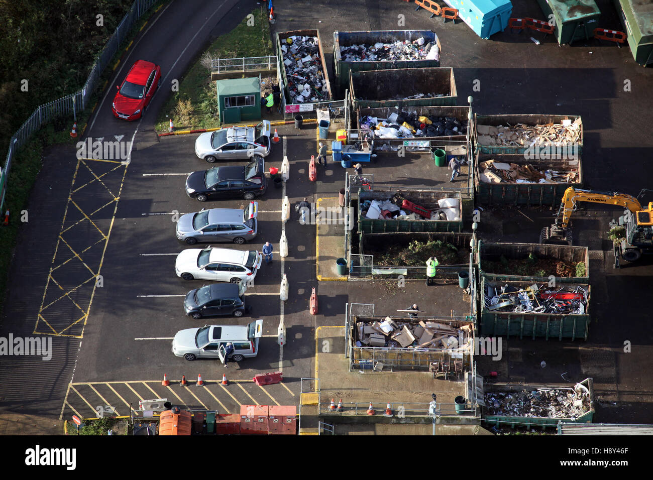 aerial view of domestic household waste recycling plant in UK - Stock Image