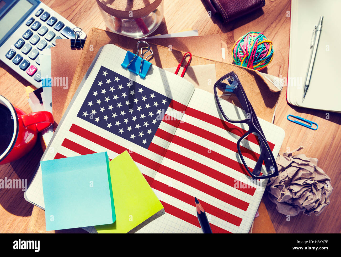 American Flag Nationality Liberty Country Concept - Stock Image
