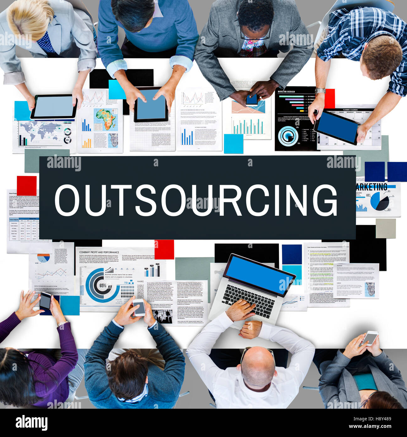 Outsourcing Function Tasks Contract Business Concept - Stock Image