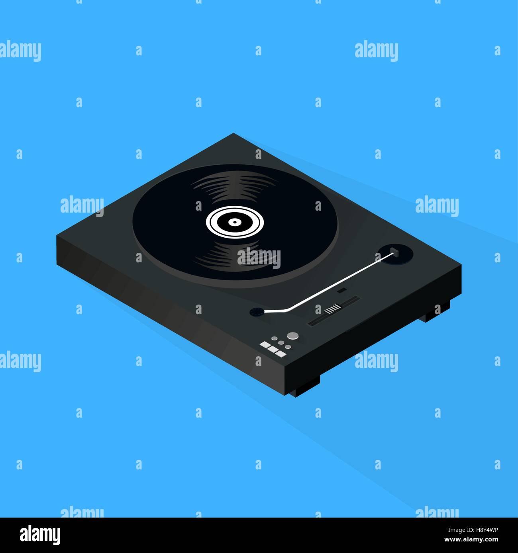 Isometric Turntable 3D Illustration - Stock Image