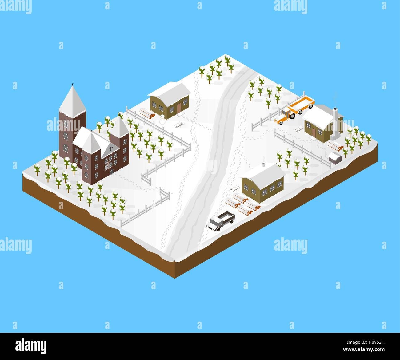 Isometric Snowy Village - Stock Image